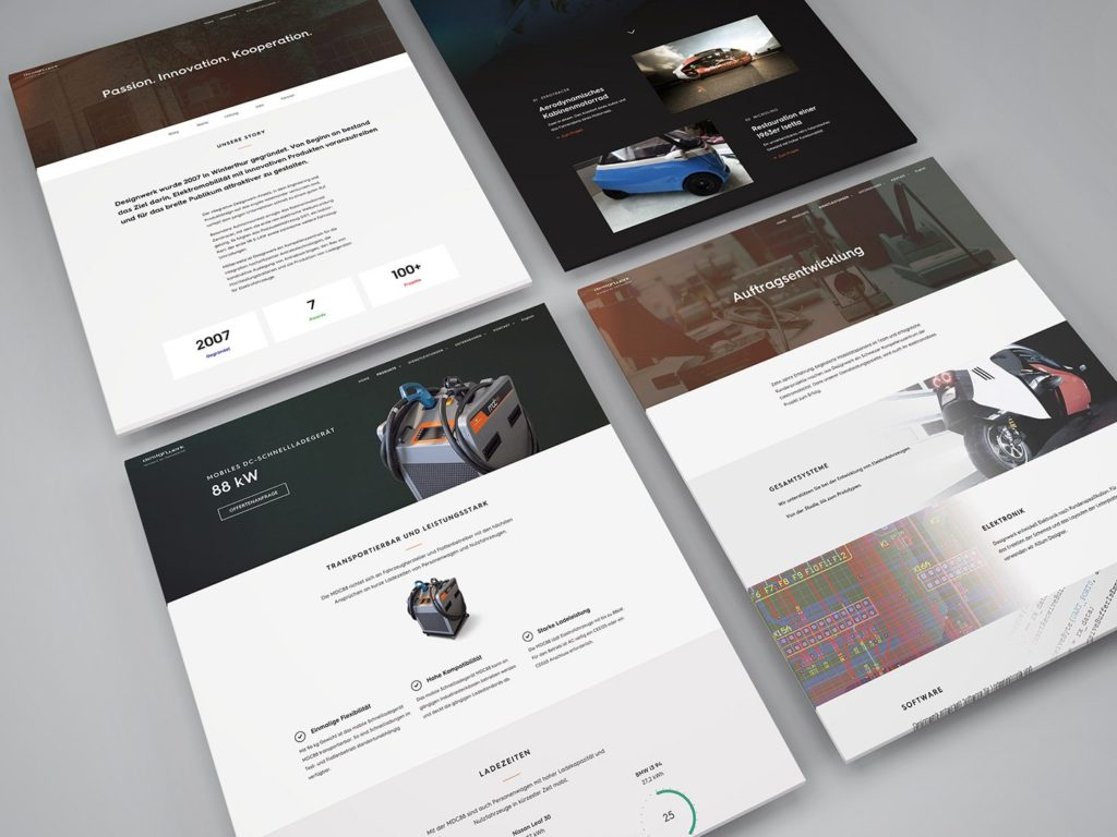 Screenshots der Website von Designwerk